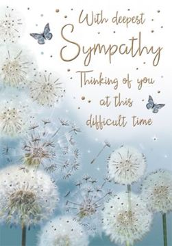 With Deepest Sympathy Card with foiled butterflies 19cm x 13cm