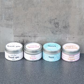 Picture of CANDLE TINS 4 ASSORTED MESSAGE